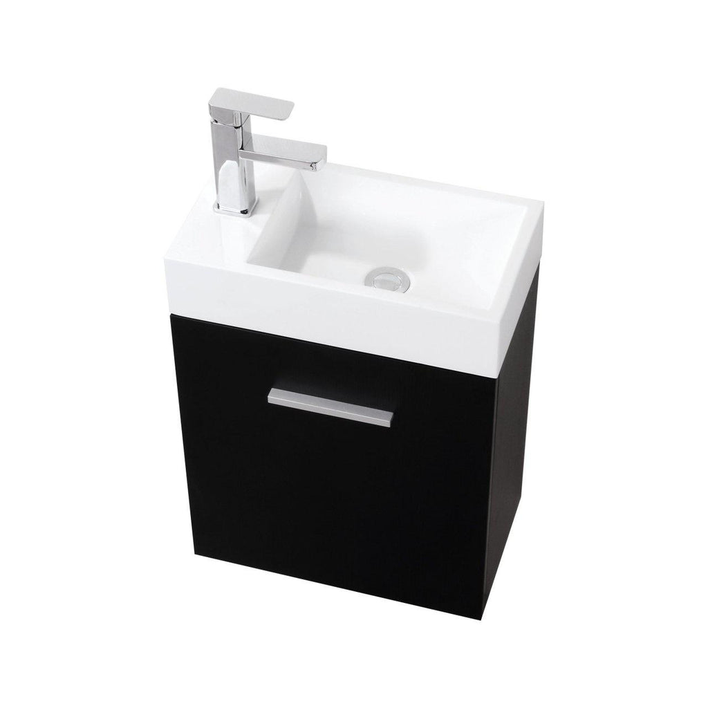 "KubeBath Bliss 18"" Black Floating Vanity - The Modern Vanity"