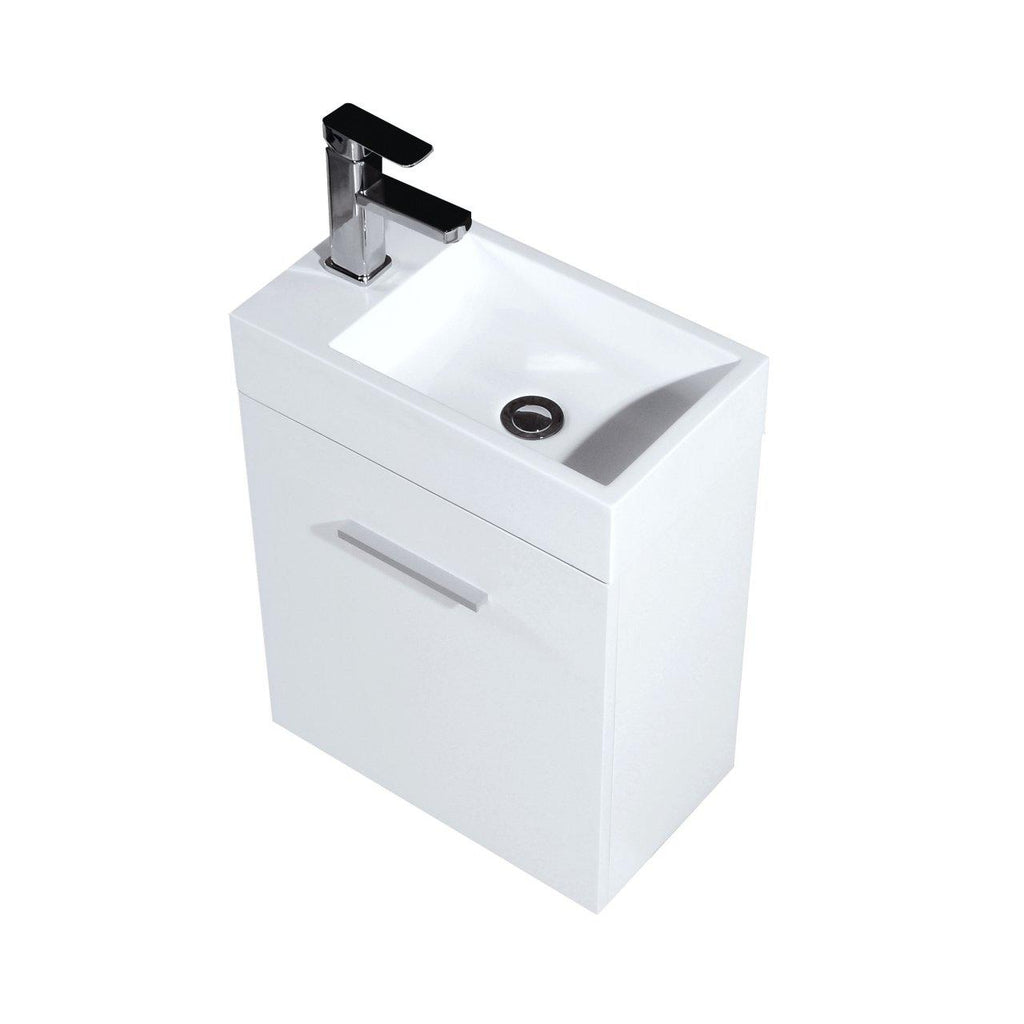 "KubeBath Bliss 18"" High Gloss White Floating Vanity - The Modern Vanity"