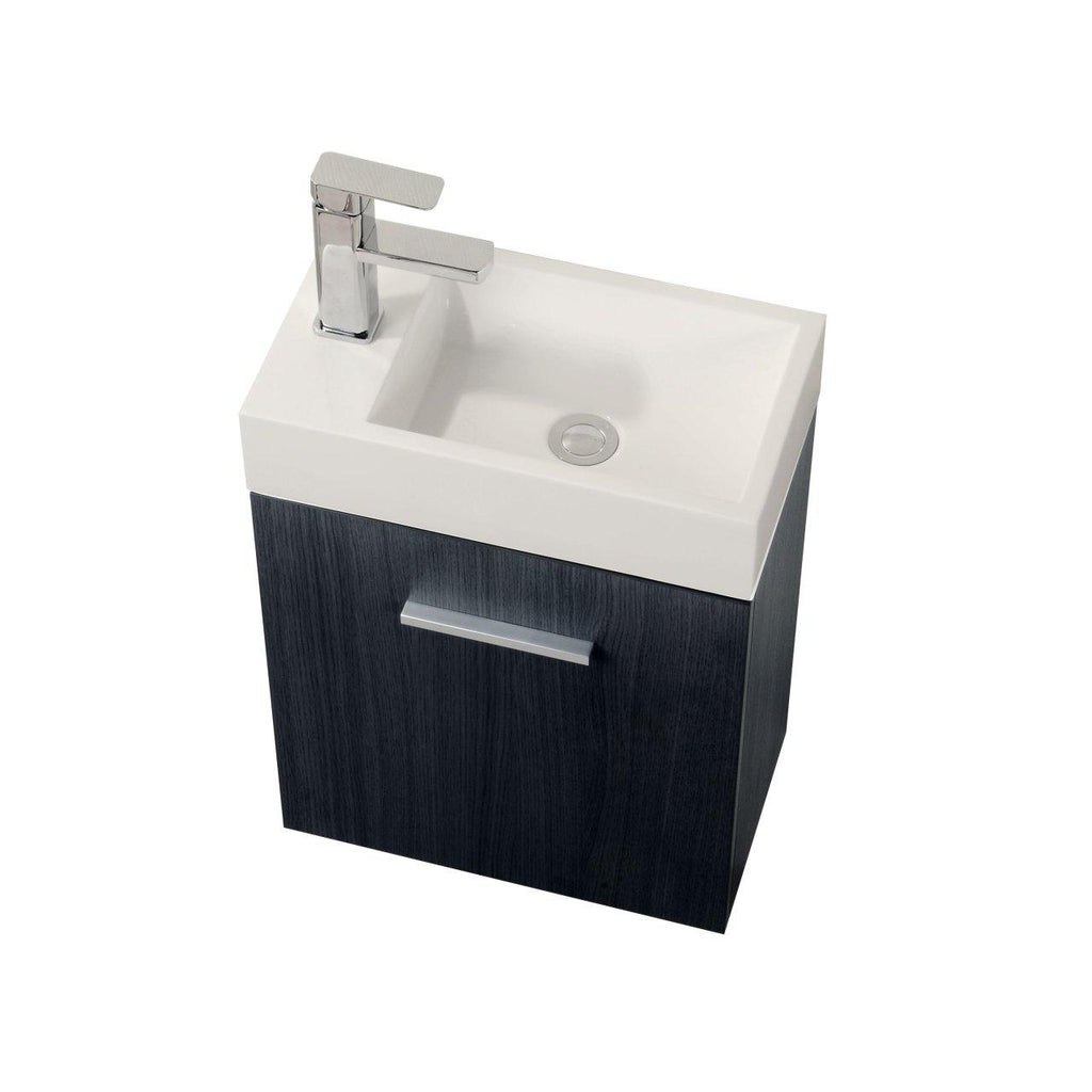 "KubeBath Bliss 18"" High Gloss Gray Oak Floating Vanity - The Modern Vanity"