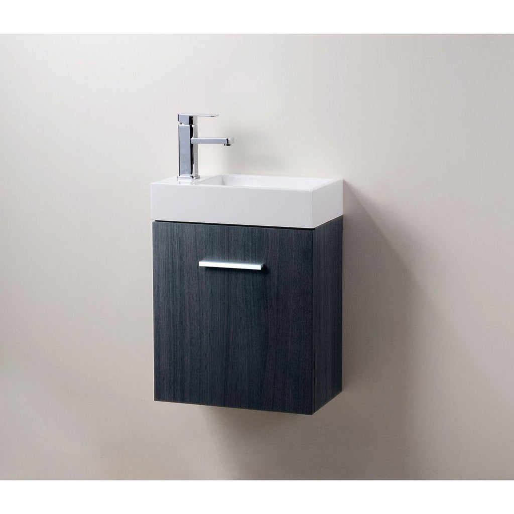 "KubeBath Bliss 18"" High Gloss Gray Oak Floating Vanity"