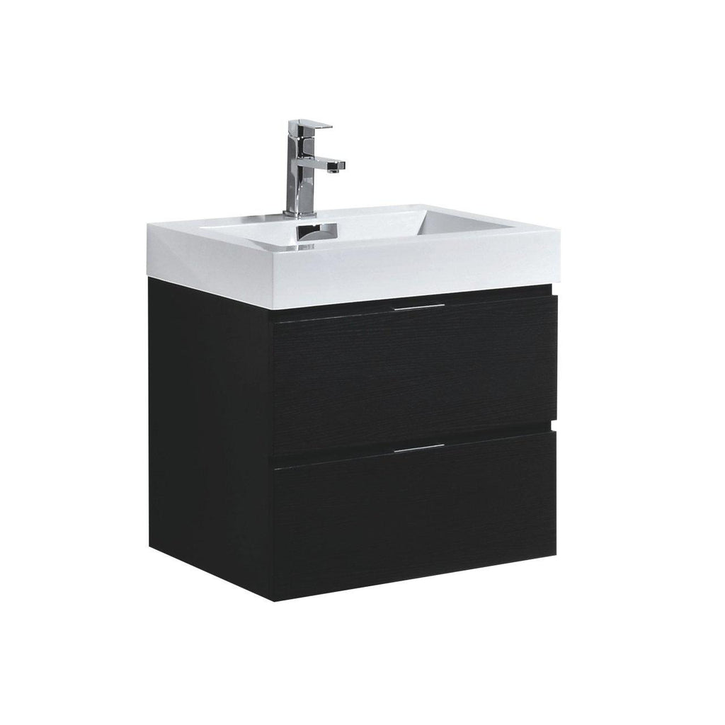 "KubeBath Bliss 24"" Black Floating Vanity - The Modern Vanity"