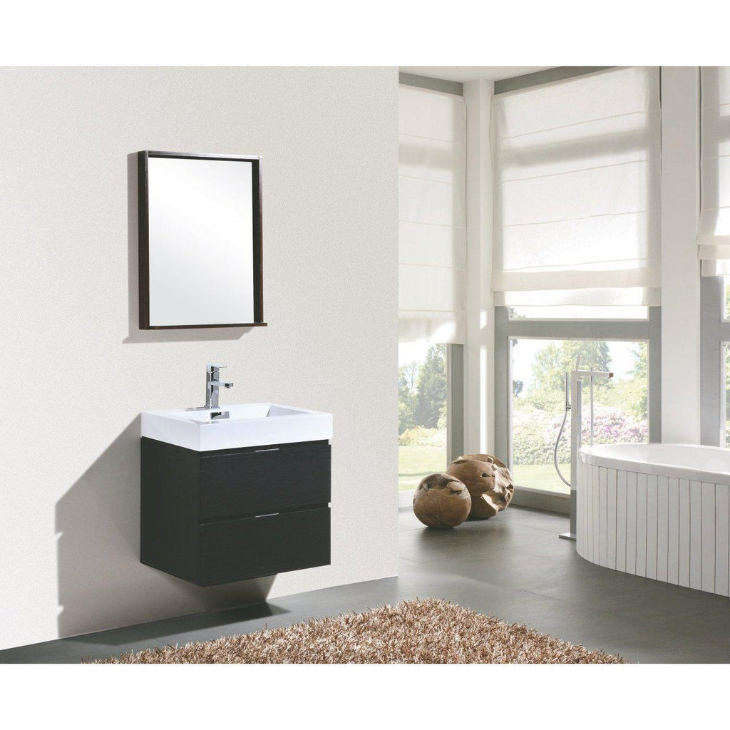 "KubeBath Bliss 24"" Black Floating Vanity"
