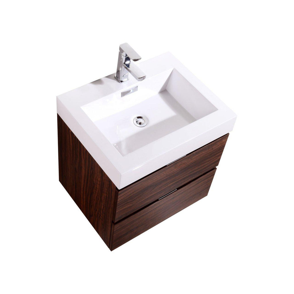 "KubeBath Bliss 24"" Walnut Floating Vanity - The Modern Vanity"