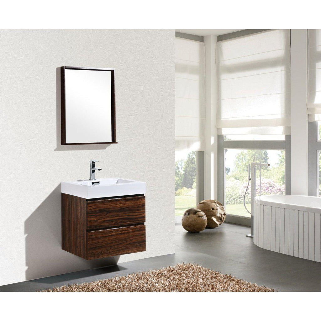 "KubeBath Bliss 24"" Walnut Floating Vanity"