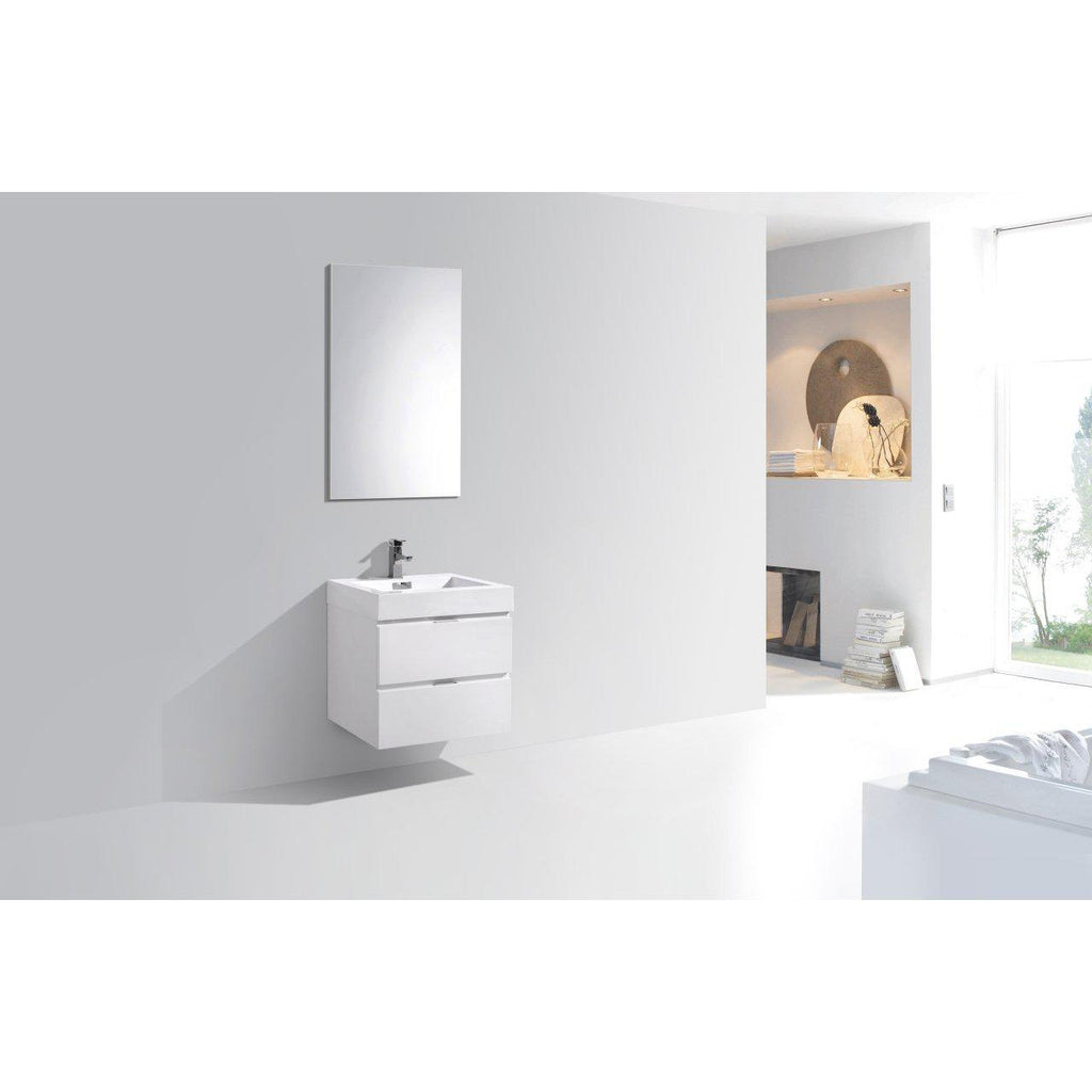 "KubeBath Bliss 24"" High Gloss White Floating Vanity"