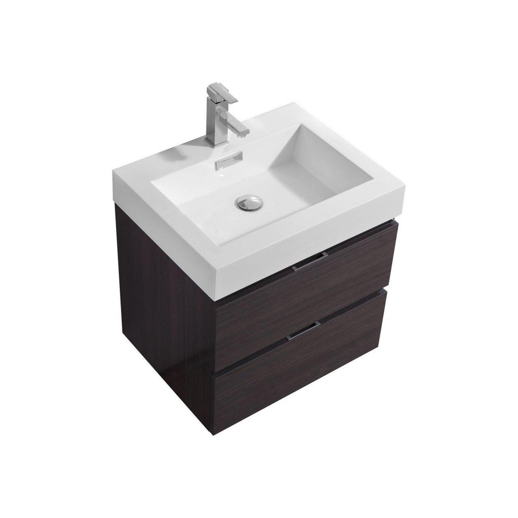 "KubeBath Bliss 24"" High Gloss Gray Oak Floating Vanity - The Modern Vanity"