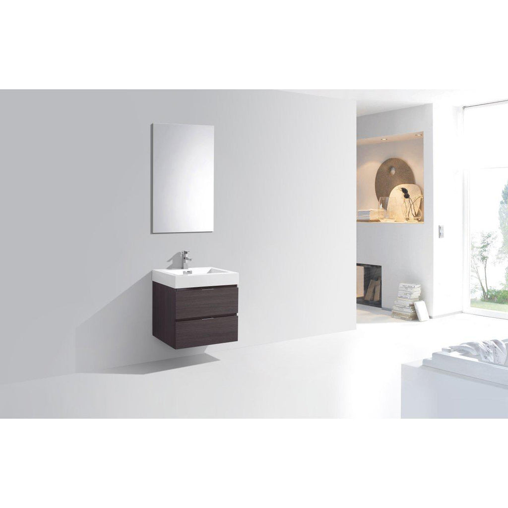 "KubeBath Bliss 24"" High Gloss Gray Oak Floating Vanity"