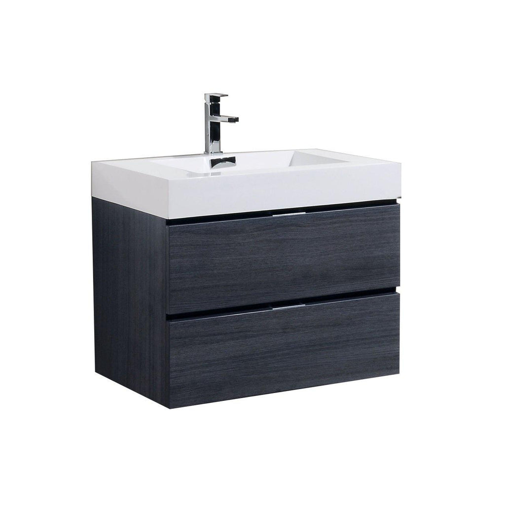"KubeBath Bliss 30"" Gray Oak Floating Vanity - The Modern Vanity"