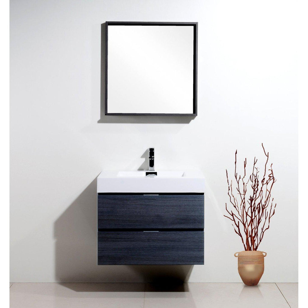 "KubeBath Bliss 30"" Gray Oak Floating Vanity"