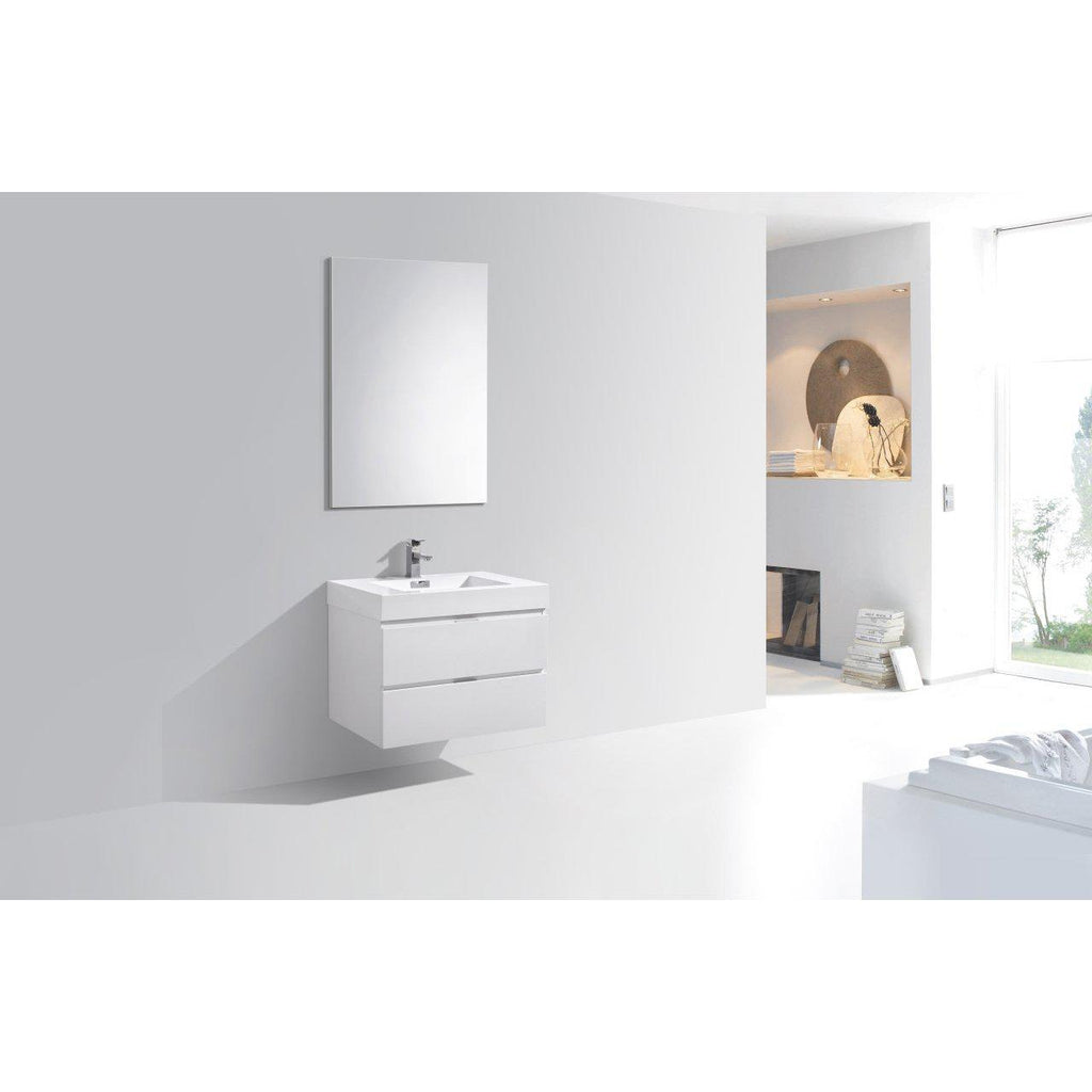 "KubeBath Bliss 30"" High Gloss White Floating Vanity"
