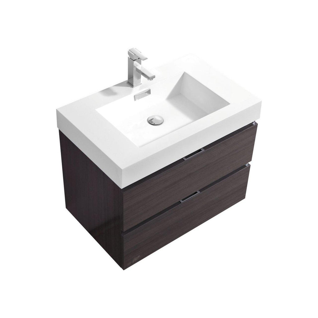 "KubeBath Bliss 30"" High Gloss Gray Oak Floating Vanity - The Modern Vanity"
