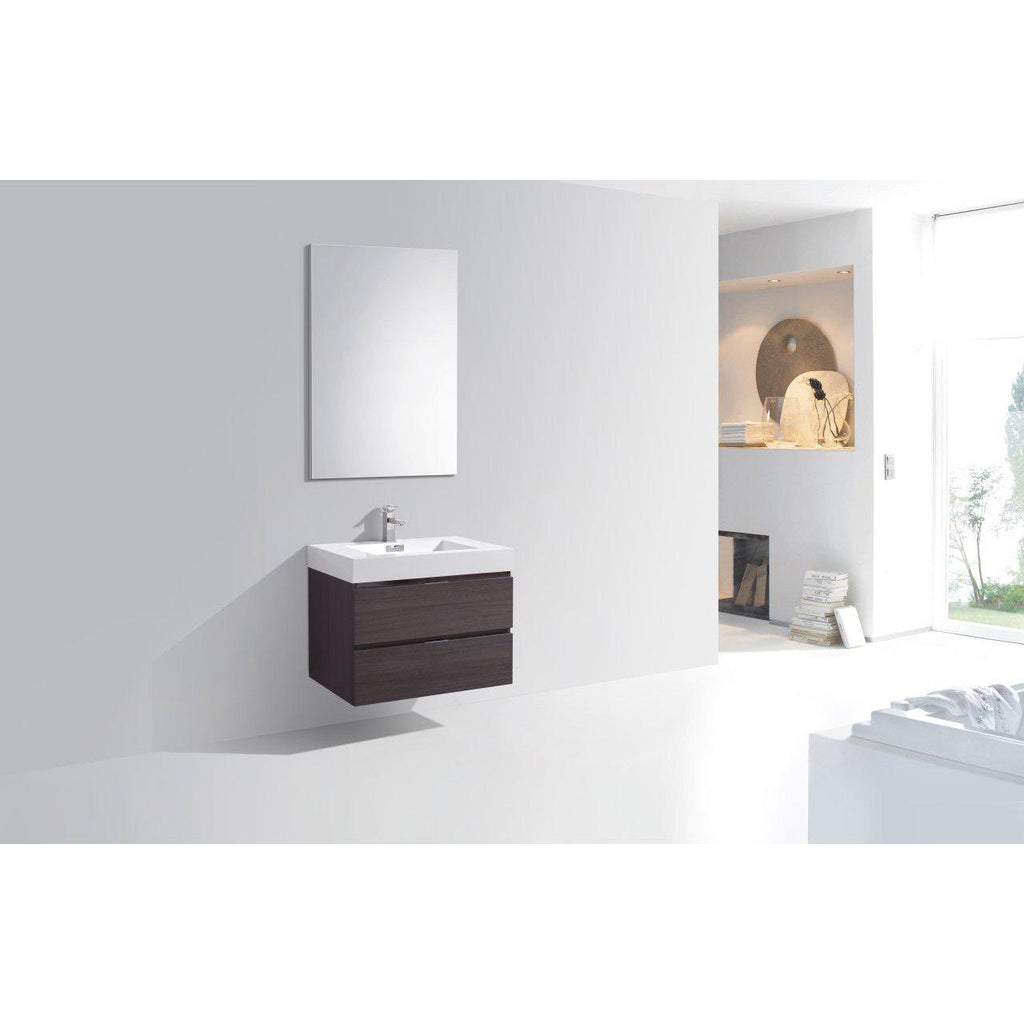 "KubeBath Bliss 30"" High Gloss Gray Oak Floating Vanity"