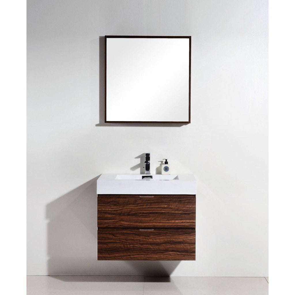 "KubeBath Bliss 30"" Walnut Floating Vanity"
