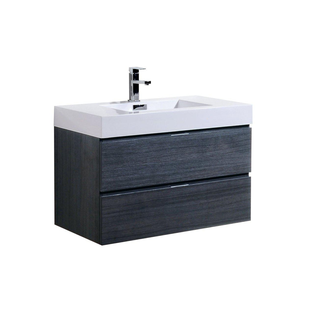 "KubeBath Bliss 36"" Gray Oak Floating Vanity - The Modern Vanity"