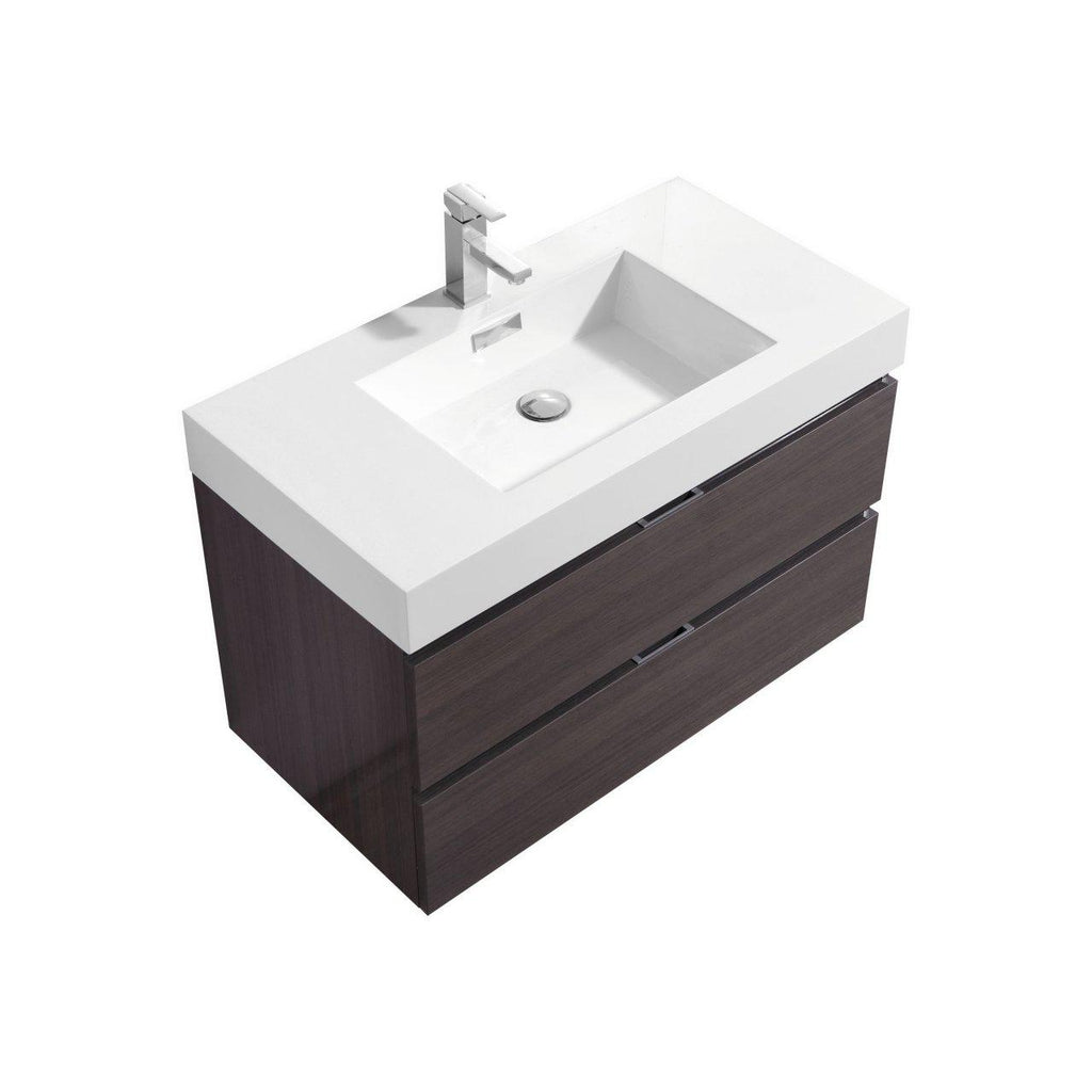 "KubeBath Bliss 36"" High Gloss Gray Oak Floating Vanity - The Modern Vanity"