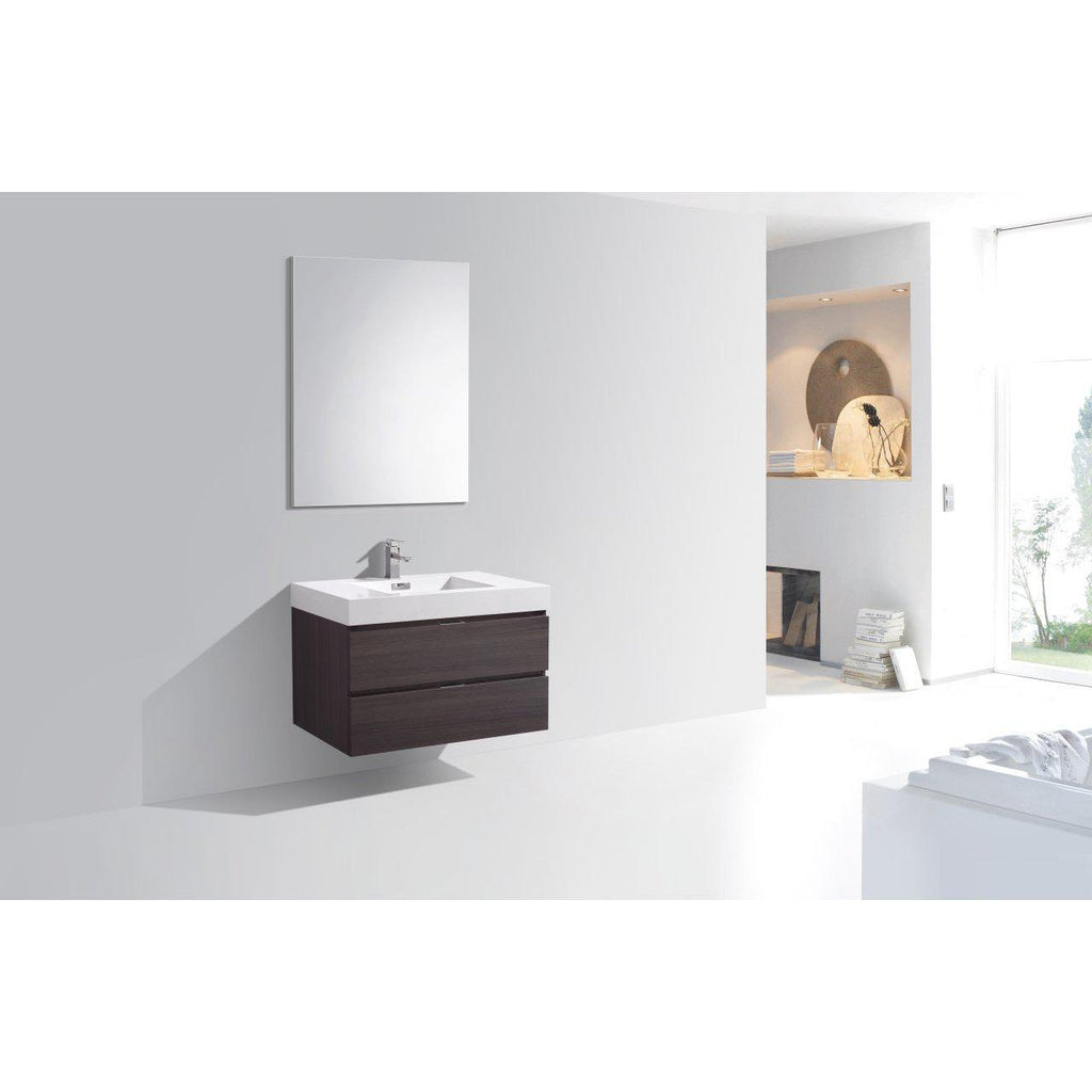 "KubeBath Bliss 36"" High Gloss Gray Oak Floating Vanity"