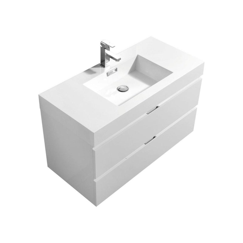"KubeBath Bliss 40"" High Gloss White Floating Vanity - The Modern Vanity"