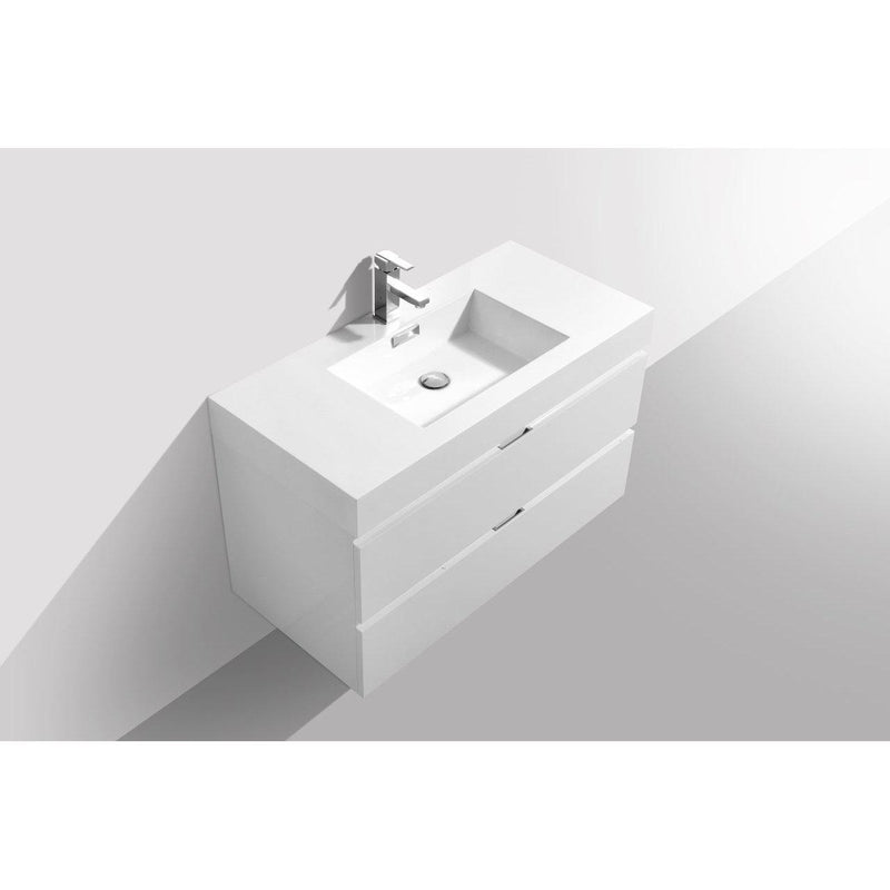 "KubeBath Bliss 40"" High Gloss White Floating Vanity"