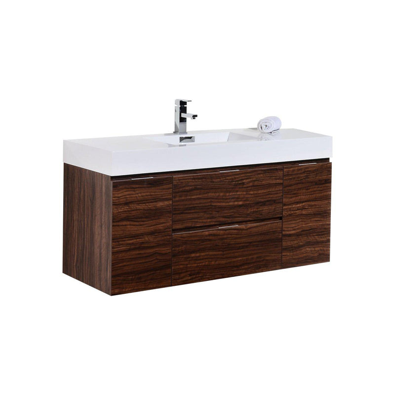 "KubeBath Bliss 48"" Walnut Floating Vanity - The Modern Vanity"