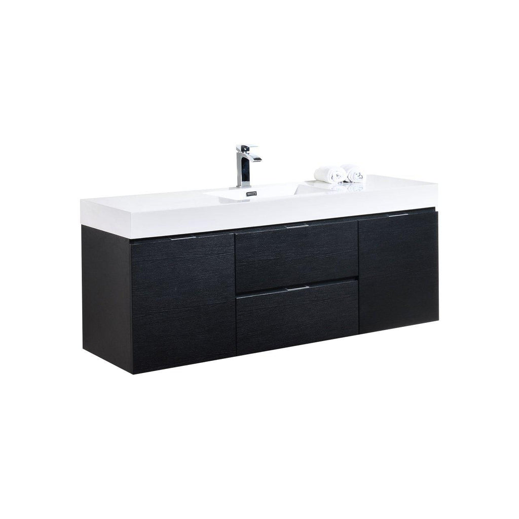 "KubeBath Bliss 60"" Single Sink Black Floating Vanity - The Modern Vanity"