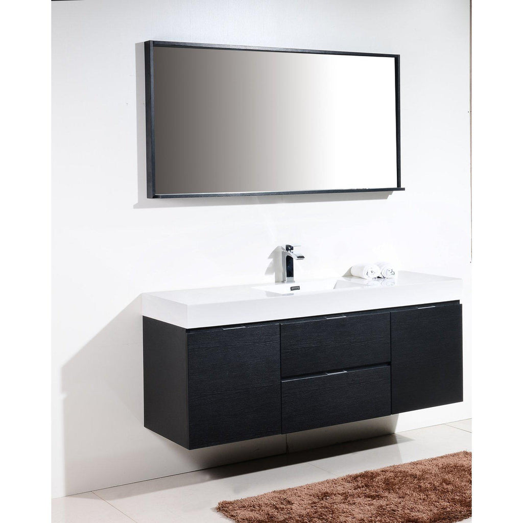 "KubeBath Bliss 60"" Single Sink Black Floating Vanity"