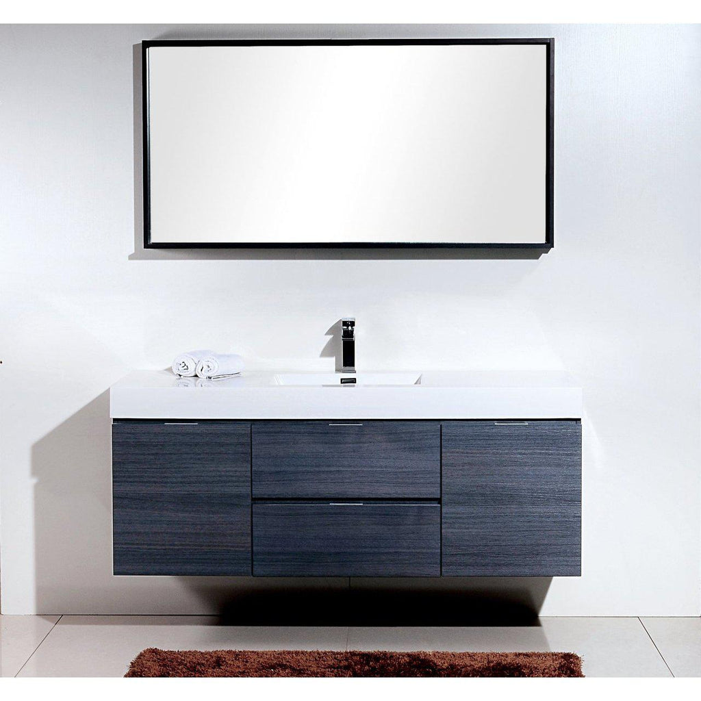 "KubeBath Bliss 60"" Single Sink Gray Oak Floating Vanity"