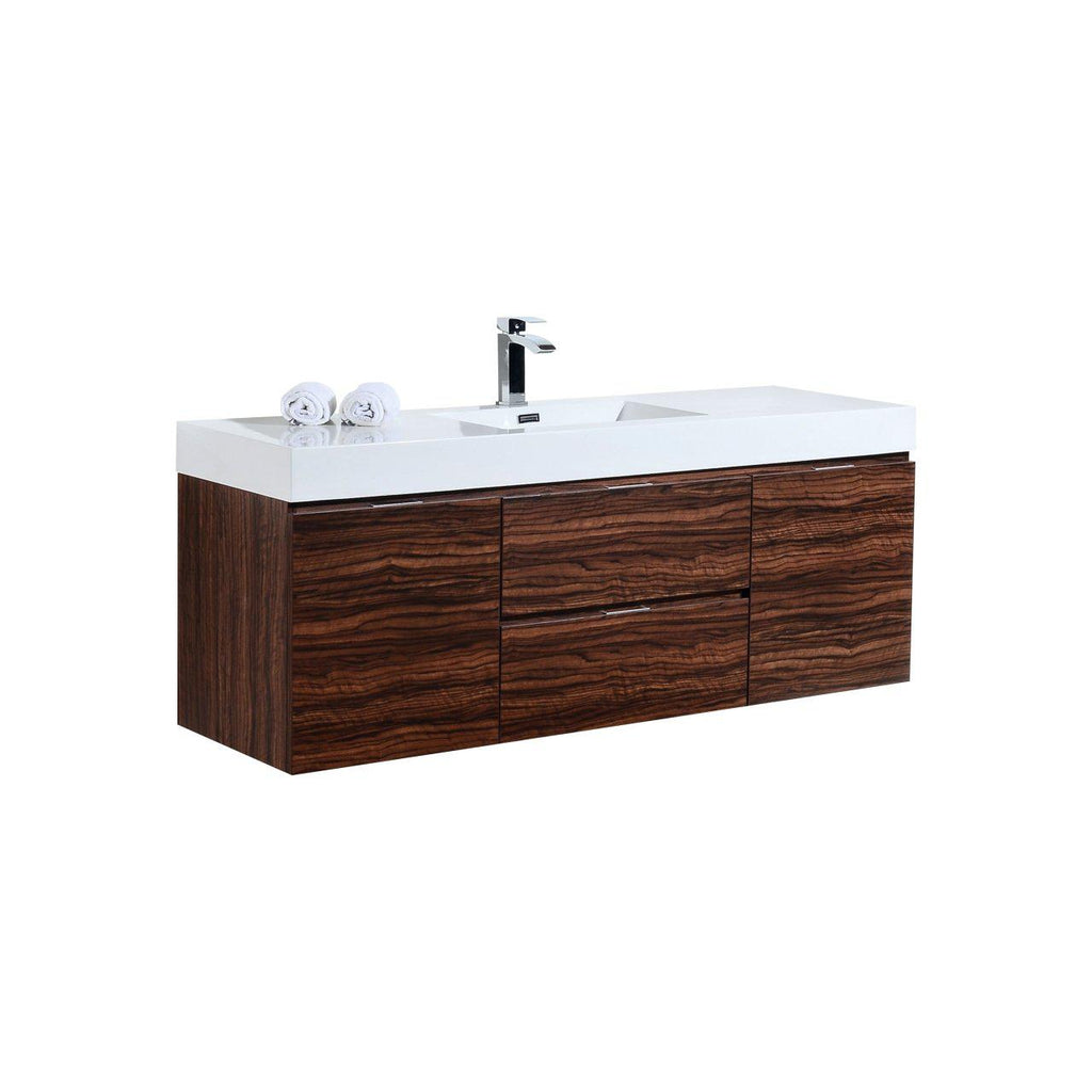 "KubeBath Bliss 60"" Single Sink Walnut Floating Vanity"