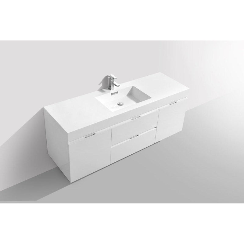 "KubeBath Bliss 60"" Single Sink High Gloss White Floating Vanity"