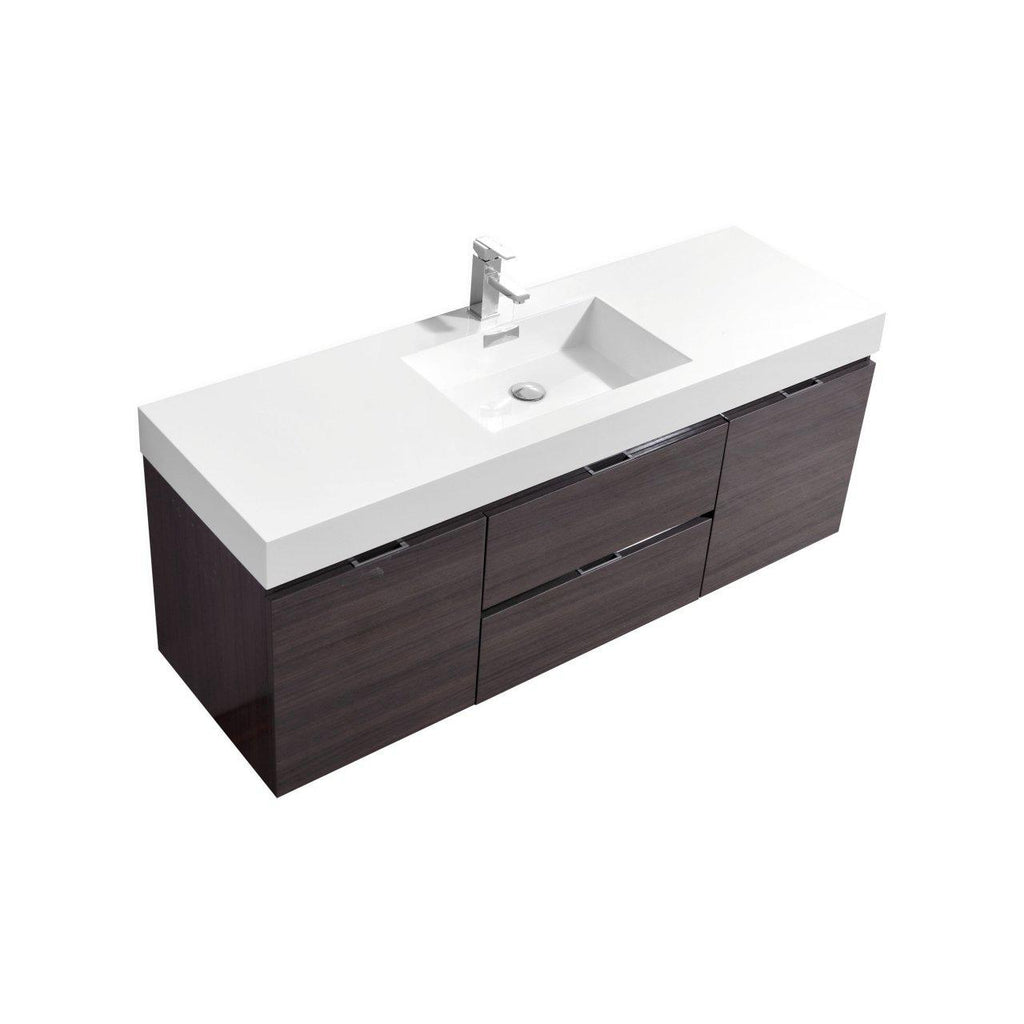 "KubeBath Bliss 60"" Single Sink High Gloss Gray Oak Floating Vanity - The Modern Vanity"