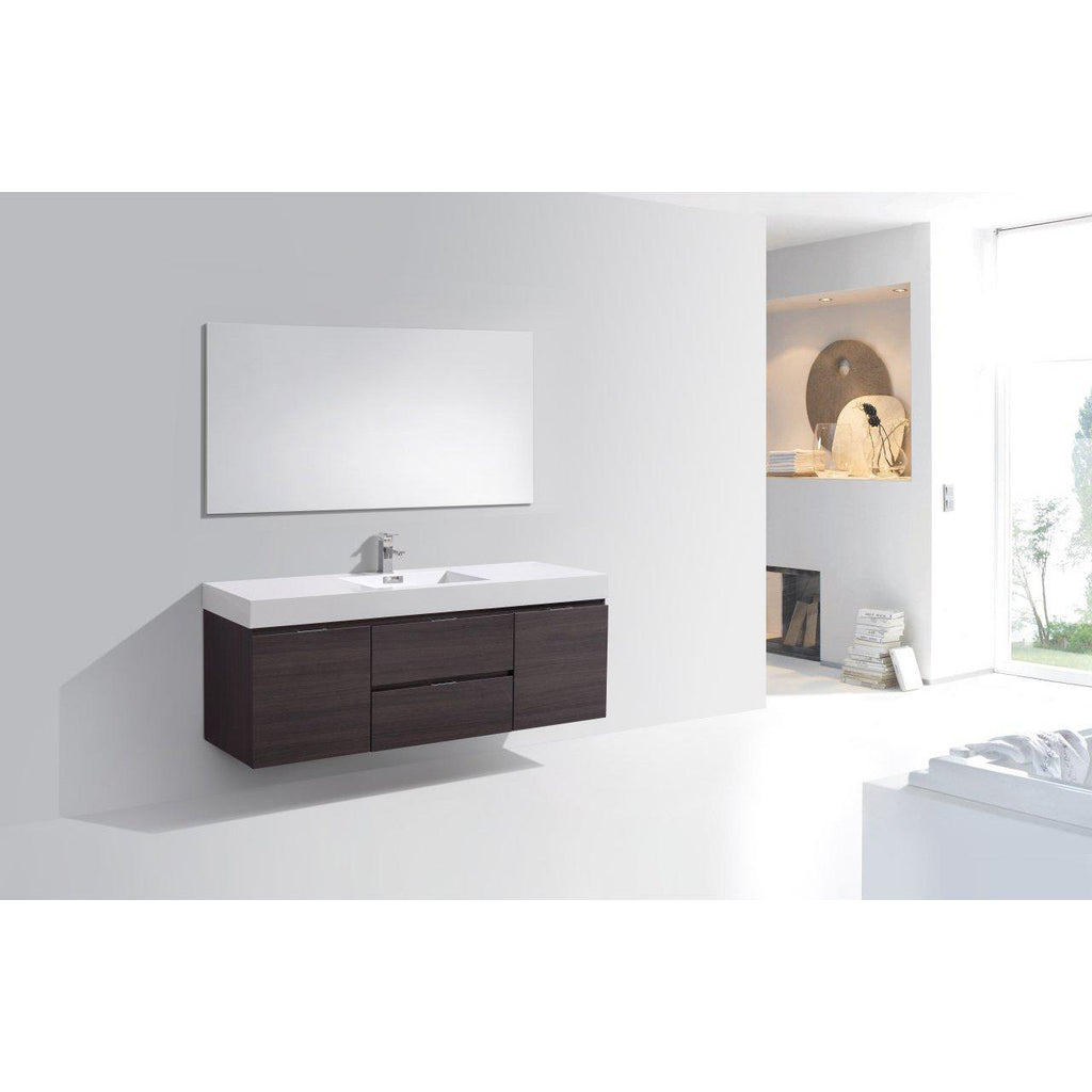 "KubeBath Bliss 60"" Single Sink High Gloss Gray Oak Floating Vanity"