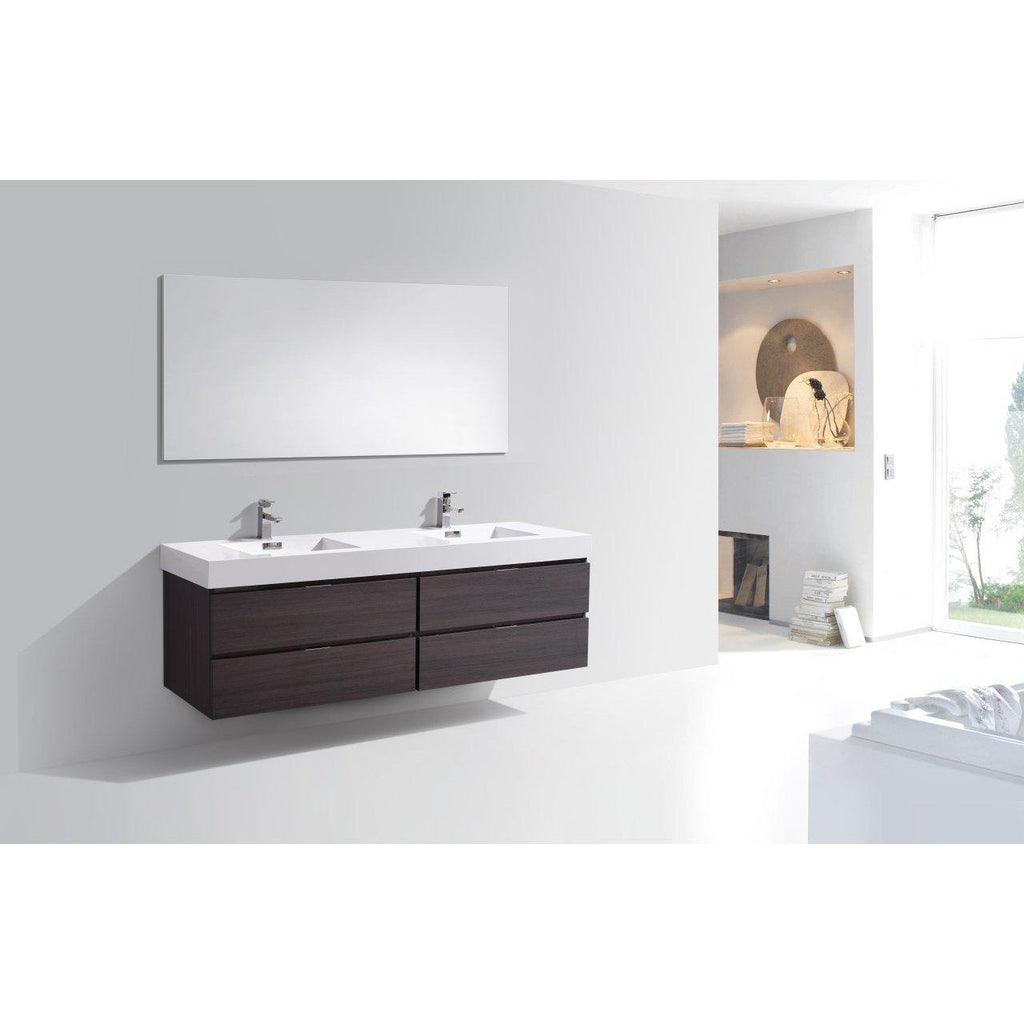 "KubeBath Bliss 72"" Double Sink High Gloss Gray Oak Floating Vanity"