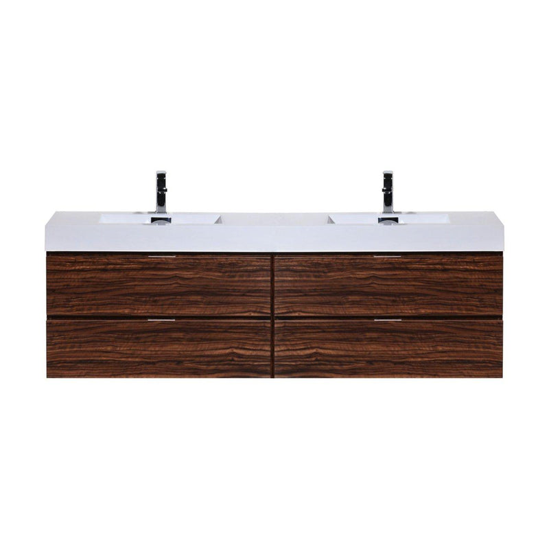 "KubeBath Bliss 72"" Double Sink Walnut Floating Vanity - The Modern Vanity"