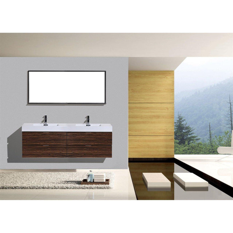 "KubeBath Bliss 72"" Double Sink Walnut Floating Vanity"