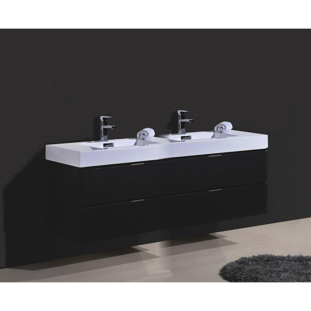 "KubeBath Bliss 80"" Double Sink Black Floating Vanity"