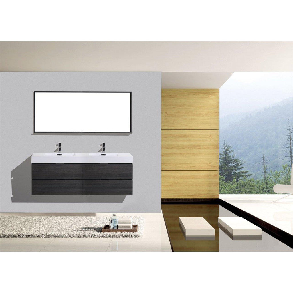 "KubeBath Bliss 80"" Double Sink Gray Oak Floating Vanity"