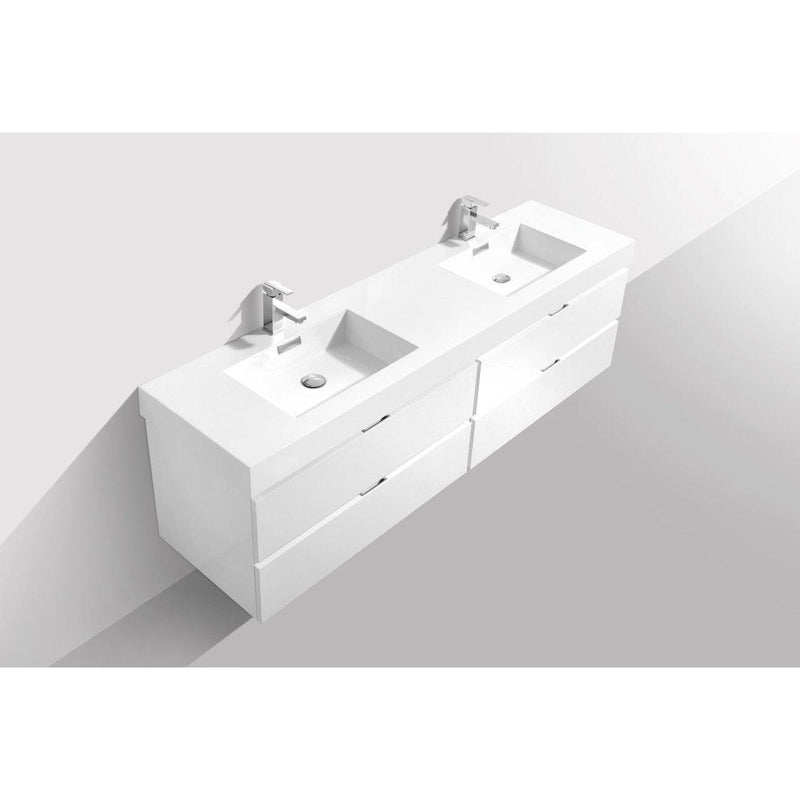 "KubeBath Bliss 80"" Double Sink High Gloss White Floating Vanity"
