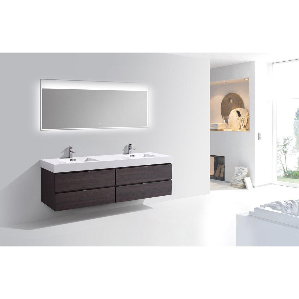 "KubeBath Bliss 80"" Double Sink High Gloss Gray Oak Floating Vanity"