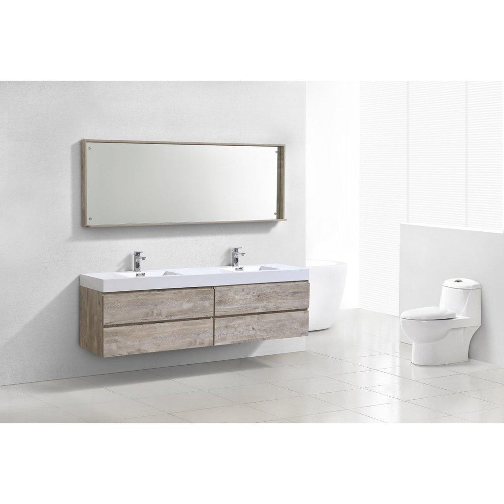 "KubeBath Bliss 80"" Double Sink Nature Wood Floating Vanity"