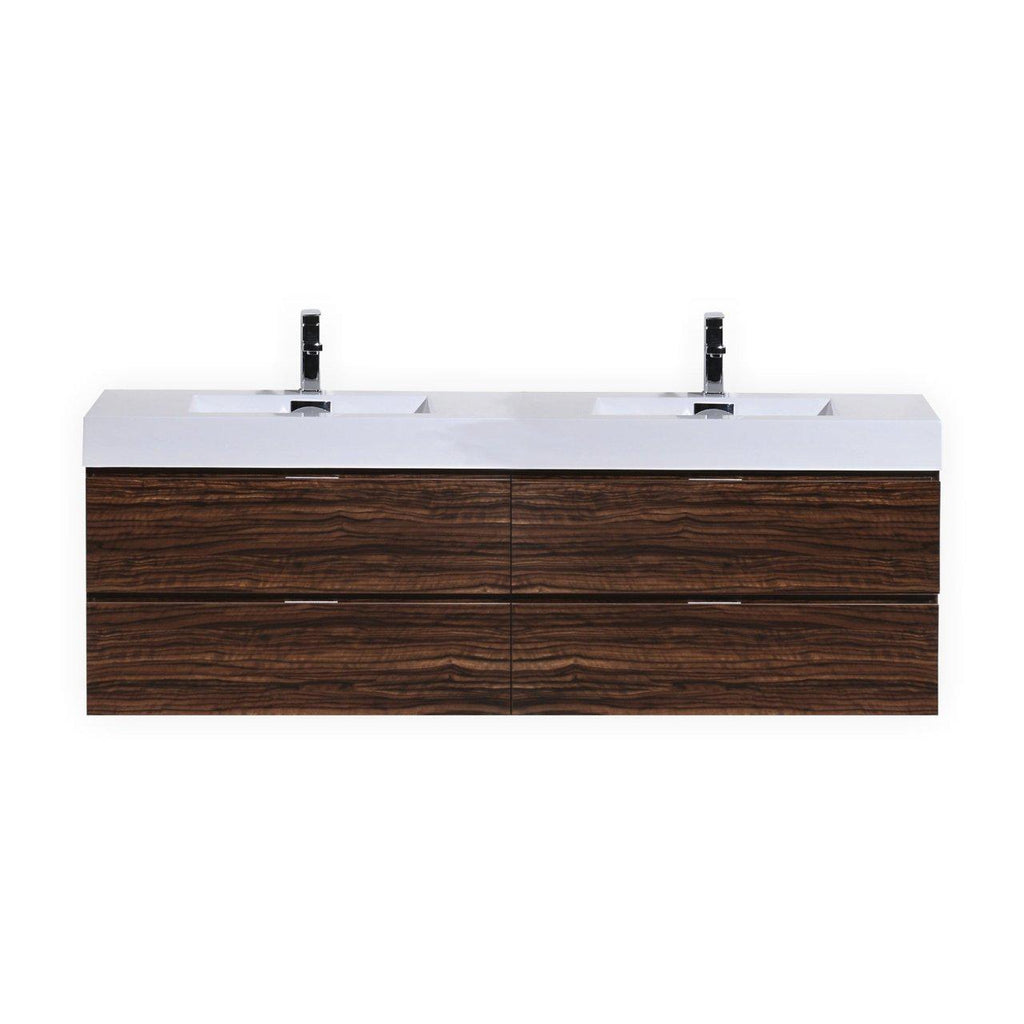 "KubeBath Bliss 80"" Double Sink Walnut Floating Vanity - The Modern Vanity"