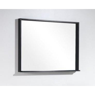 "Bliss 38"" Framed Mirror With Shelf- Black Wood Finish"