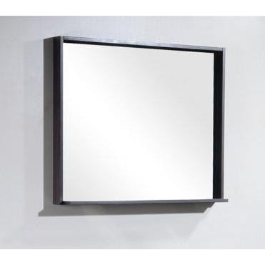 "Bliss 38"" Framed Mirror With Shelf- Gray Oak Finish"