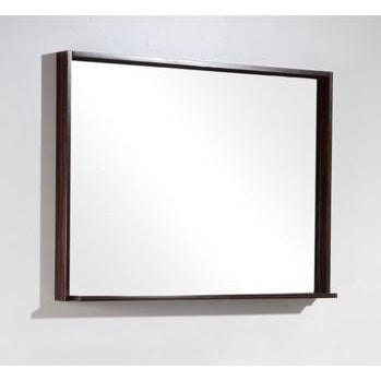 "Bliss 38"" Framed Mirror With Shelf- Walnut Finish"
