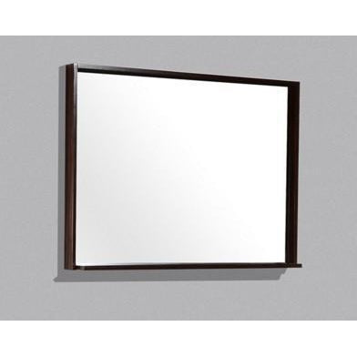 "Bliss 44"" Framed Mirror With Shelf- Walnut Finish"
