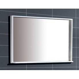 "Bliss 44"" Framed Mirror With Shelf- Gloss White Finish"