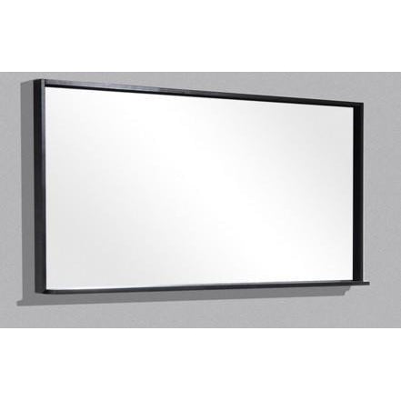 "Bliss 55"" Framed Mirror With Shelf- High Gloss Gray Oak Finish"