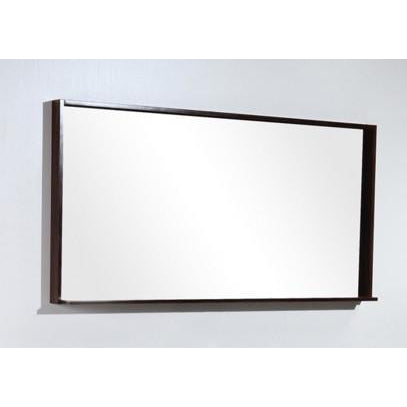 "Bliss 55"" Framed Mirror With Shelf- Walnut Finish"