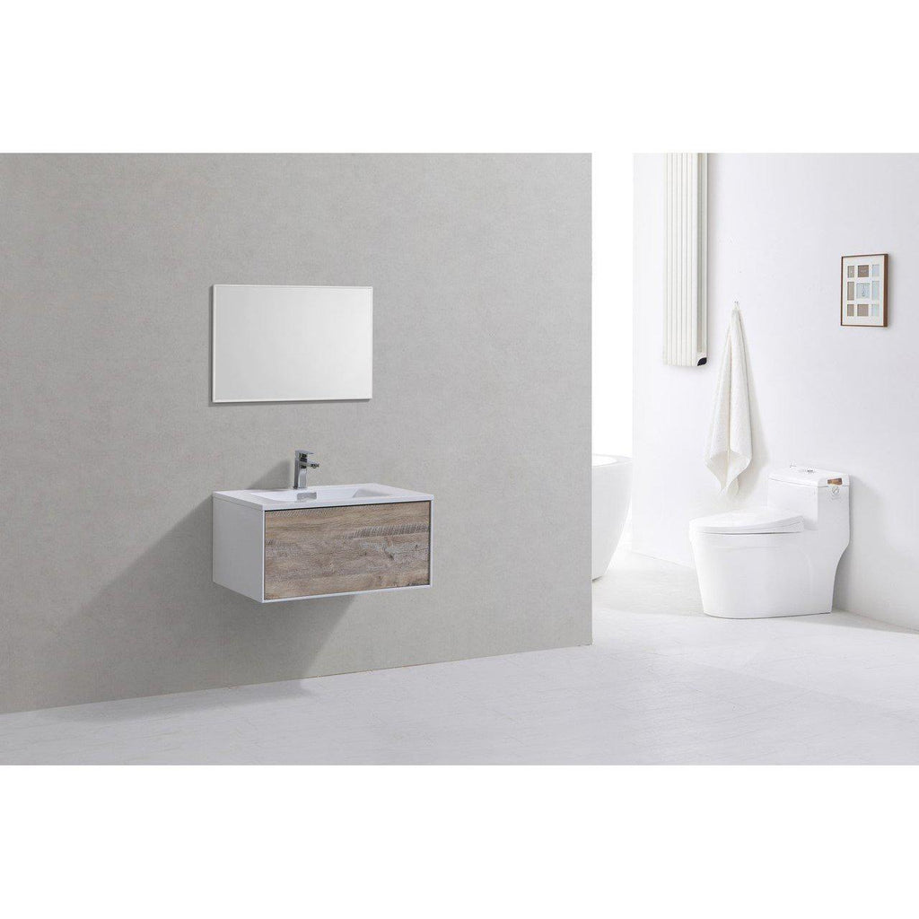 "KubeBath Divario 30"" Nature Wood Floating Vanity"