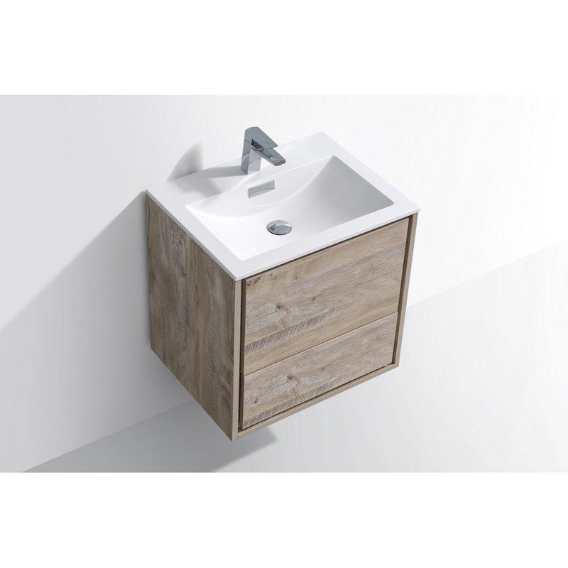 "KubeBath DeLusso 24"" Nature Wood Floating Vanity"