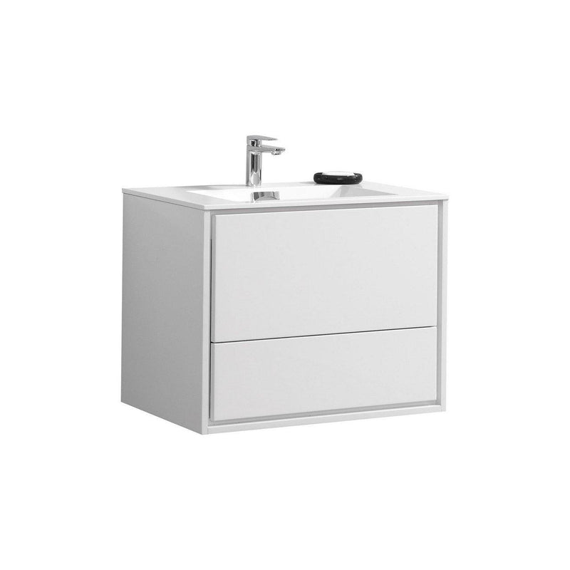 "KubeBath DeLusso 30"" High Glossy White Floating Vanity - The Modern Vanity"