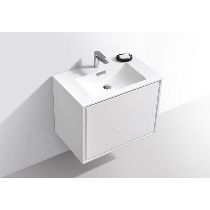 "KubeBath DeLusso 30"" High Glossy White Floating Vanity"